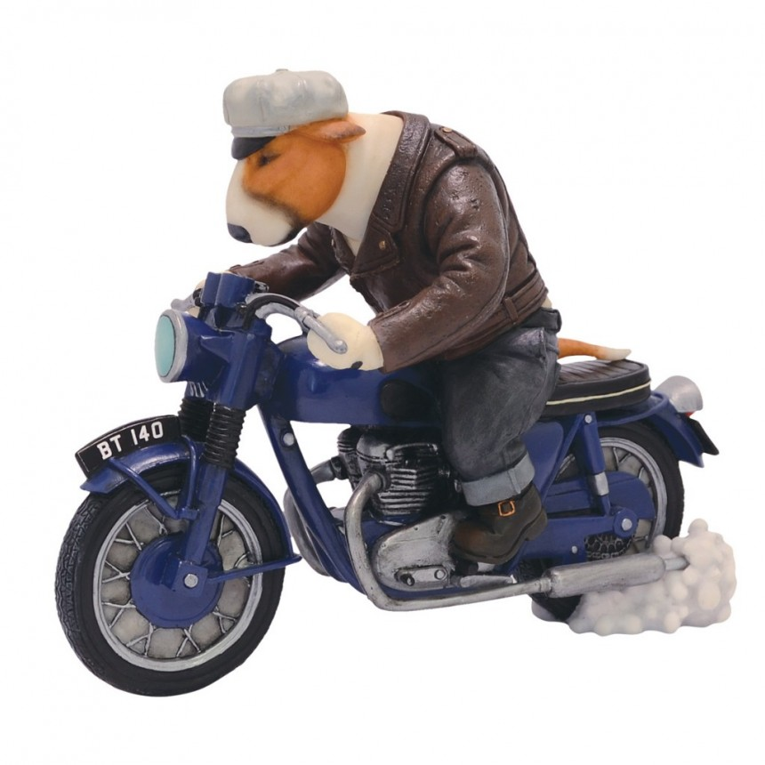 Red Bull Terrier - Biker on a Bonneville