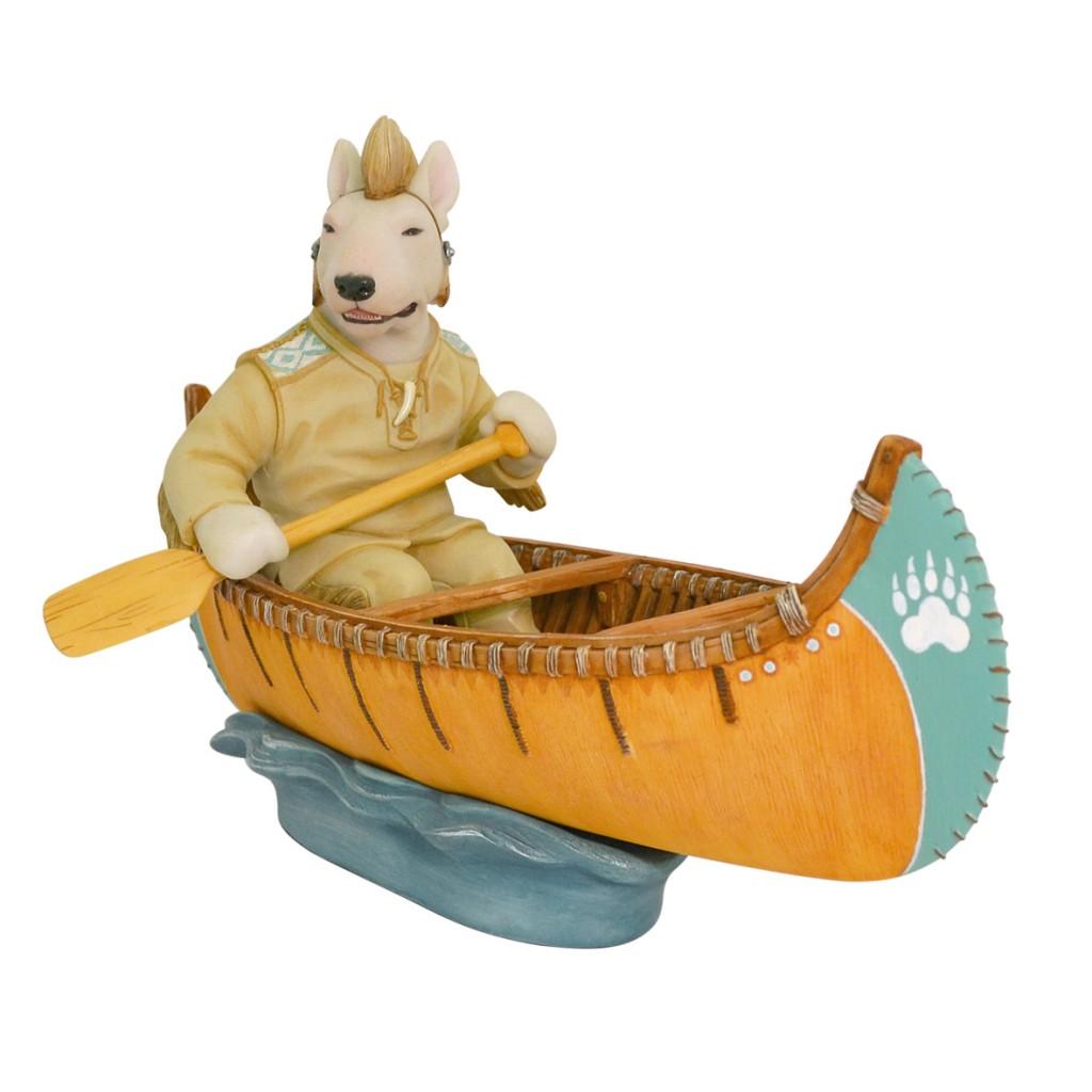 White Bull Terrier - Native American Indian in Canoe