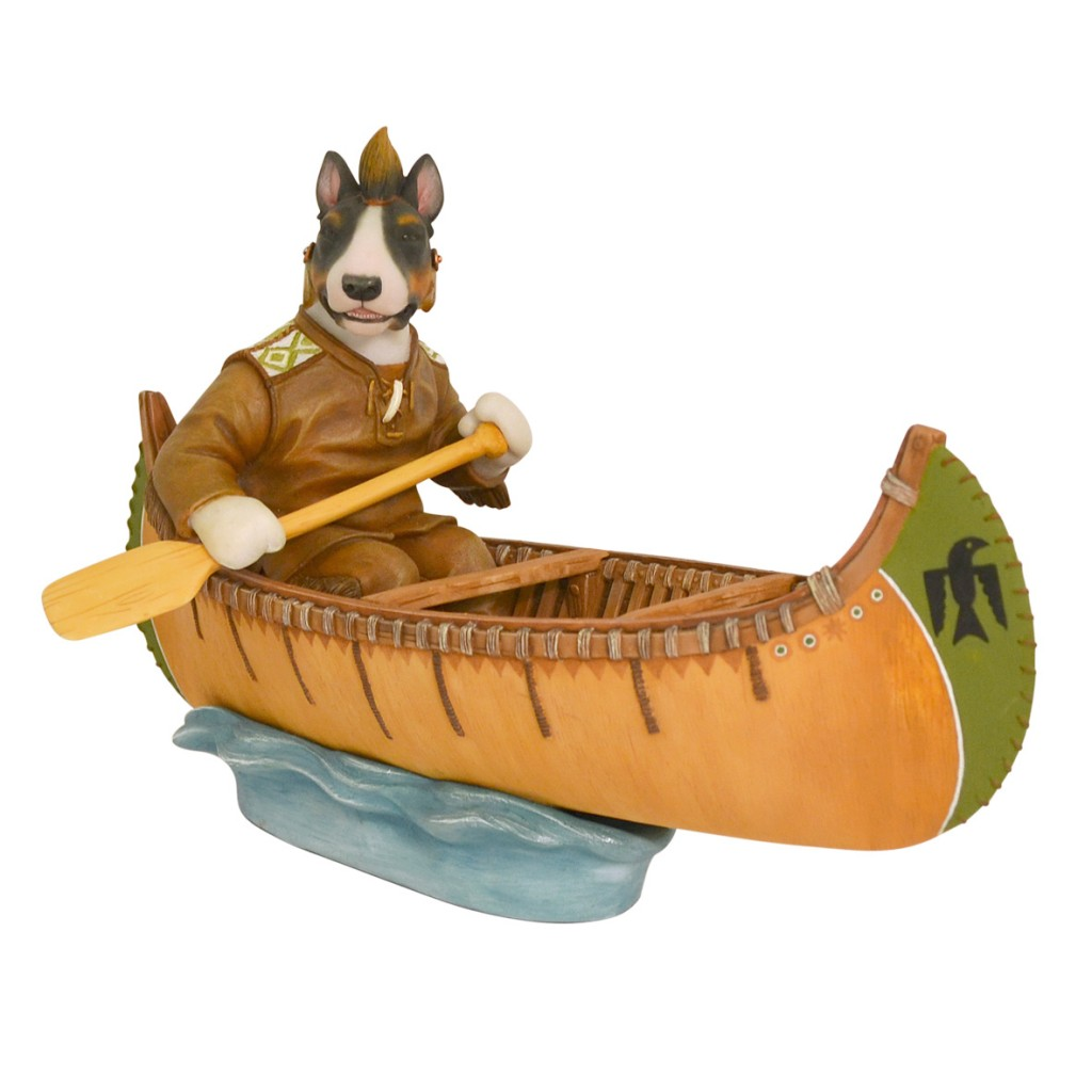 Tri-Colour Bull Terrier - Native American Indian in Canoe - Limited Edition 75