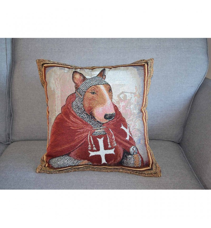 Bull Terrier - Hospitaller Knight - Tapestry Cushion Cover