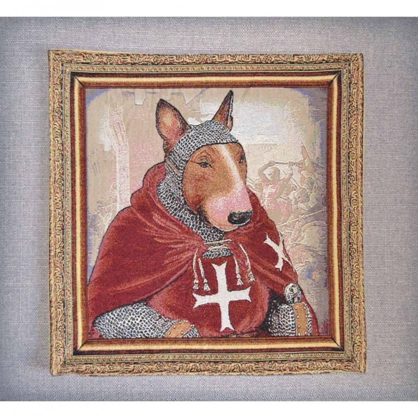 Bull Terrier - Hospitaller Knight - Tapestry Cushion