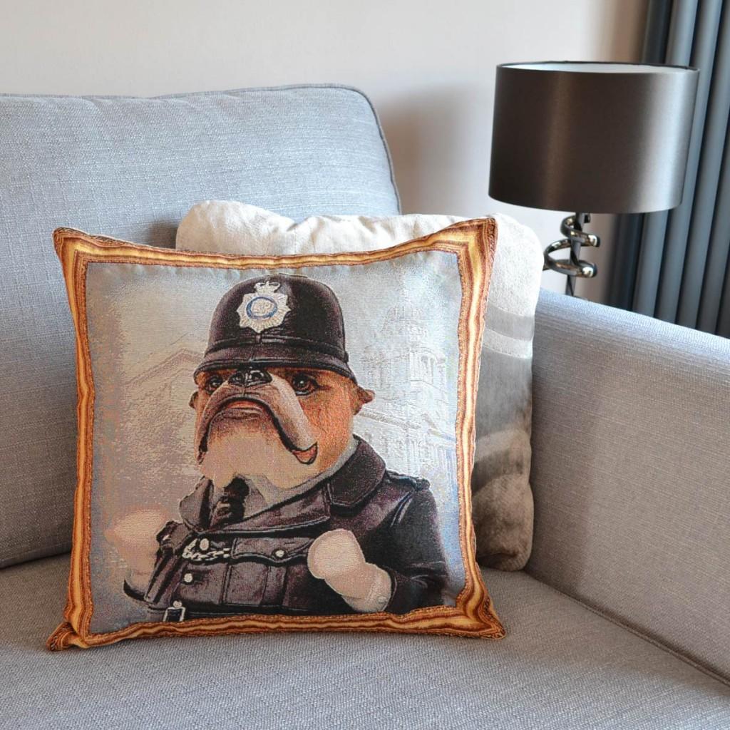Bulldog - Policeman - Tapestry Cushion