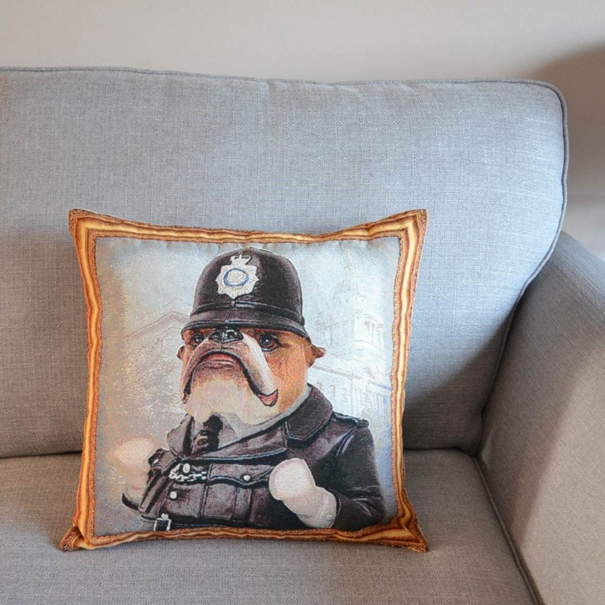 Bulldog - Policeman - Tapestry Cushion Cover
