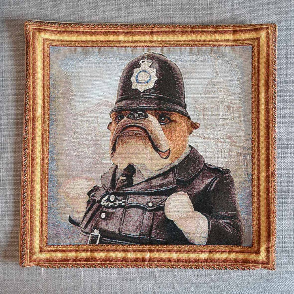 Bulldog - Policeman - Tapestry Cushion
