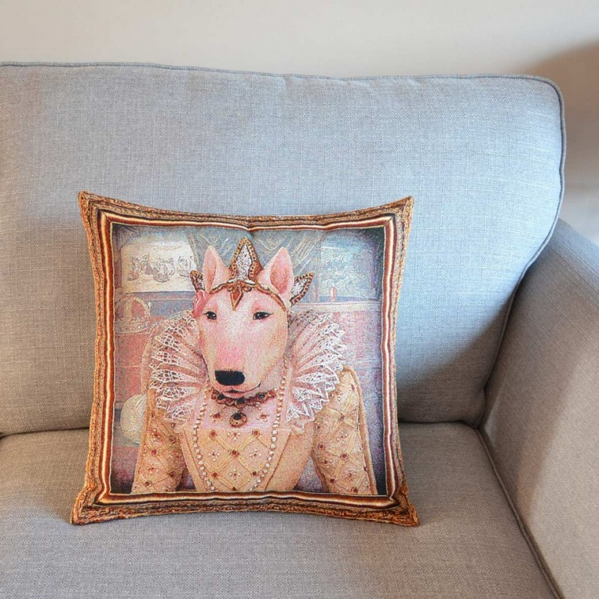 Bull Terrier - Queen Elizabeth I - Tapestry Cushion Cover