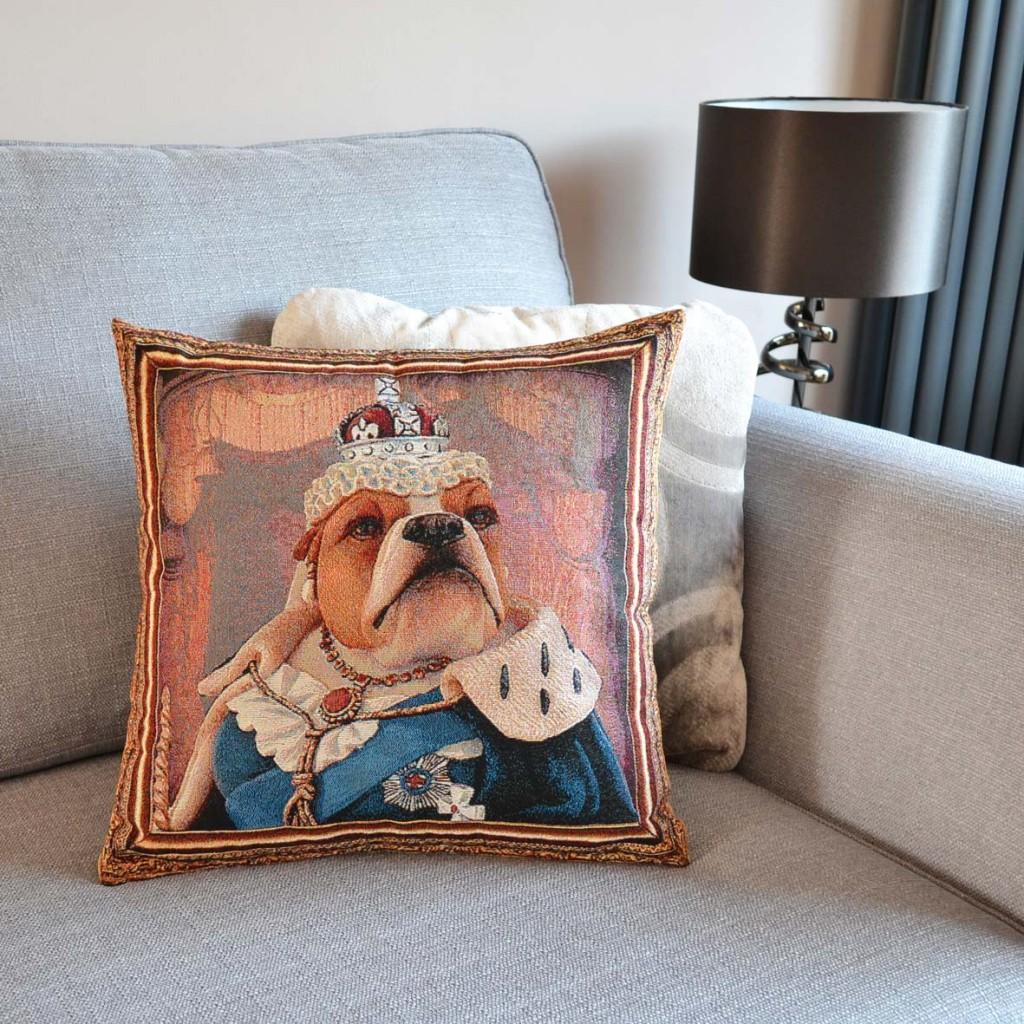 Bulldog - Queen Victoria - Tapestry Cushion