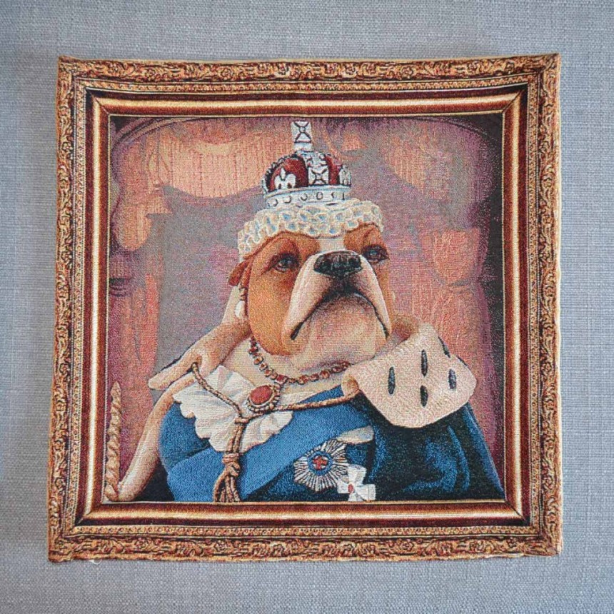 Bulldog - Queen Victoria - Tapestry Cushion